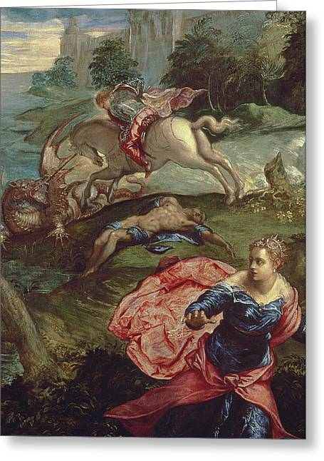 Dragon Greeting Cards - Saint George and the Dragon  Greeting Card by Jacopo Robusti Tintoretto