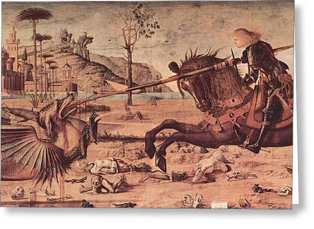 Slay Greeting Cards - Saint George and the Dragon Greeting Card by Vittore Carpaccio