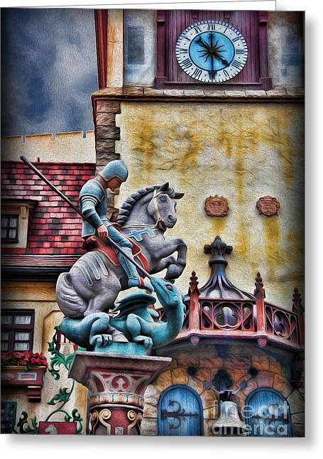 Saint George Greeting Cards - Saint George Slaying the Dragon Greeting Card by Lee Dos Santos