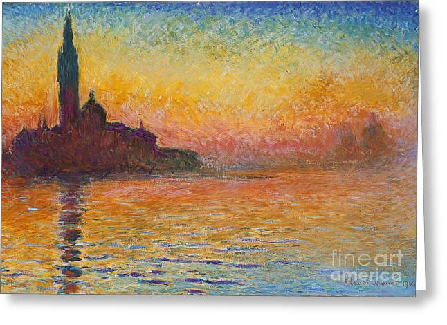 Red Photographs Paintings Greeting Cards - Saint-Georges major dusk Greeting Card by Celestial Images