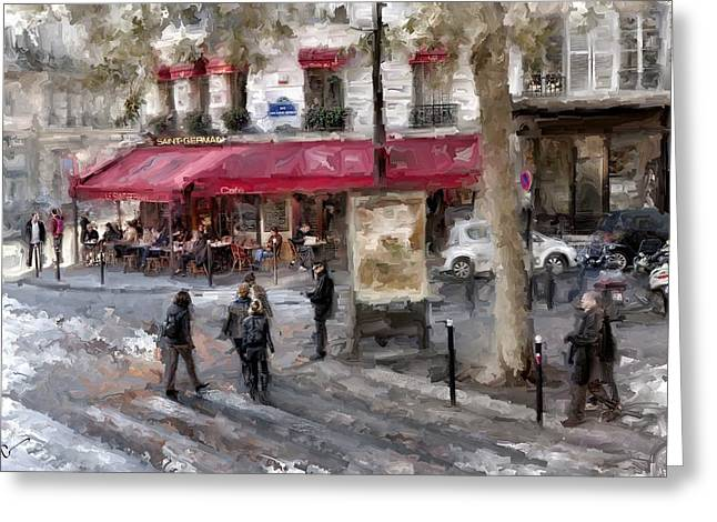 March Greeting Cards - Saint Germain Paris Greeting Card by Evie Carrier