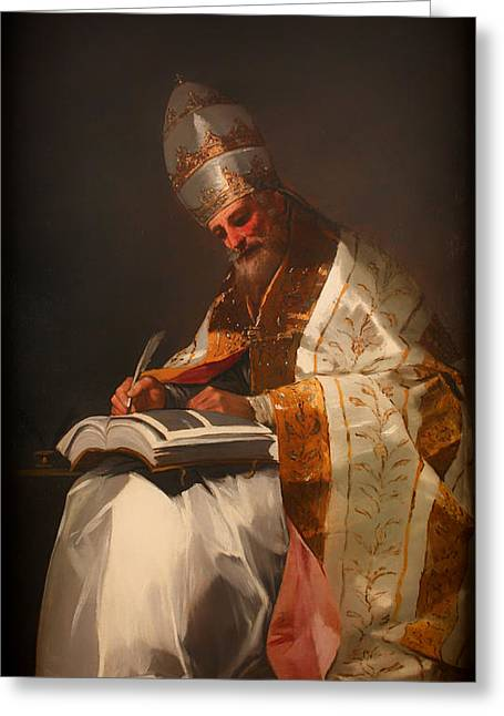Catholic work Paintings Greeting Cards - Saint Gregory the Pope Greeting Card by Francisco Goya