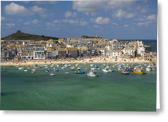 Atlantic Beaches Greeting Cards - Saint Ives Pano Greeting Card by Brian Jannsen