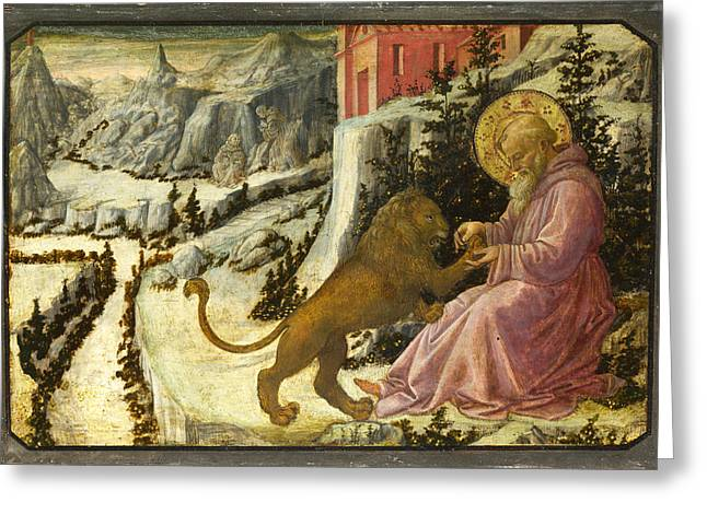 Fra Greeting Cards - Saint Jerome and the Lion - Predella Panel Greeting Card by Fra Filippo Lippi and Workshop