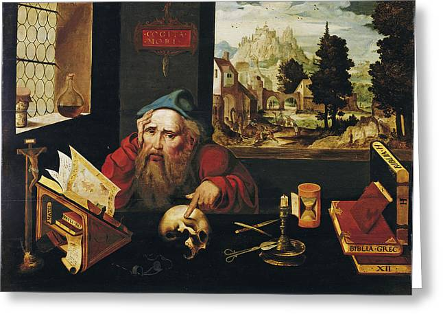Cleves Greeting Cards - Saint Jerome in His Study Greeting Card by Joos van Cleve