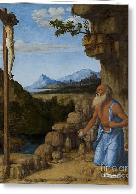 Crucifix Greeting Cards - Saint Jerome in the Wilderness Greeting Card by Giovanni Battista Cima da Conegliano