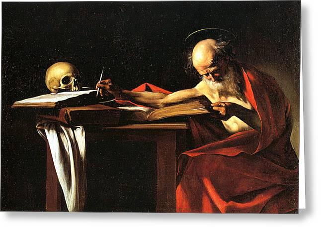Church Painter Greeting Cards - Saint Jerome Writing Greeting Card by Caravaggio