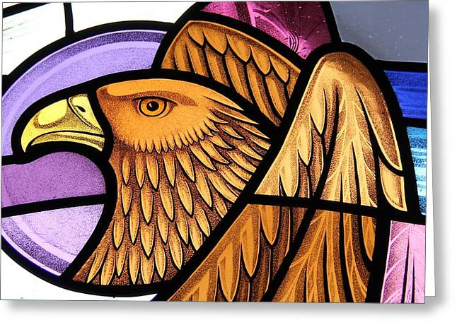 Catholic Glass Greeting Cards - Saint John Eagle  Greeting Card by Gilroy Stained Glass