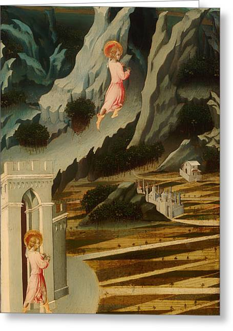 Religious work Paintings Greeting Cards - Saint John the Baptist Entering the Wilderness Greeting Card by Giovanni di Paolo