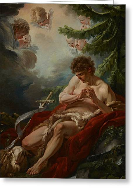 Catholic Saints Paintings Greeting Cards - Saint John the Baptist Greeting Card by Francois Boucher