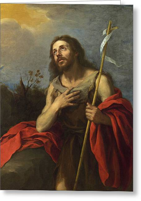Bartolome Esteban Murillo Greeting Cards - Saint John the Baptist in the Wilderness Greeting Card by Bartolome Esteban Murillo
