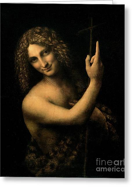 St John The Baptist Greeting Cards - Saint John the Baptist Greeting Card by Leonardo da Vinci