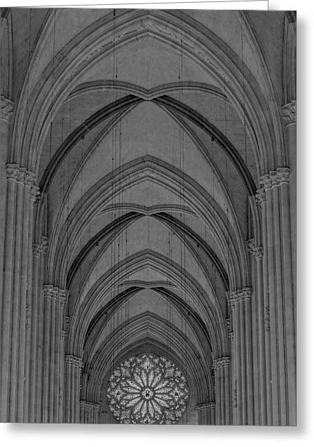 Morningside Heights Greeting Cards - Saint John The Divine Cathedral Arches And Rose Window BW Greeting Card by Susan Candelario