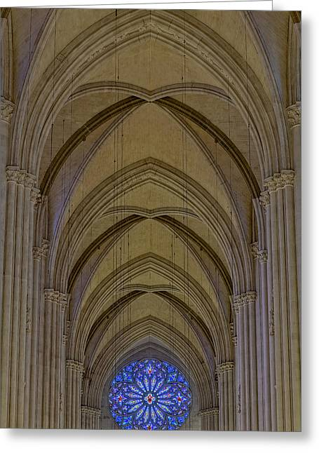 Morningside Heights Greeting Cards - Saint John The Divine Cathedral Arches And Rose Window Greeting Card by Susan Candelario