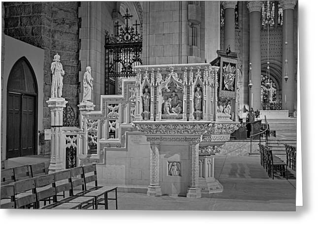 Morningside Heights Greeting Cards - Saint John The Divine Cathedral Pulpit BW Greeting Card by Susan Candelario