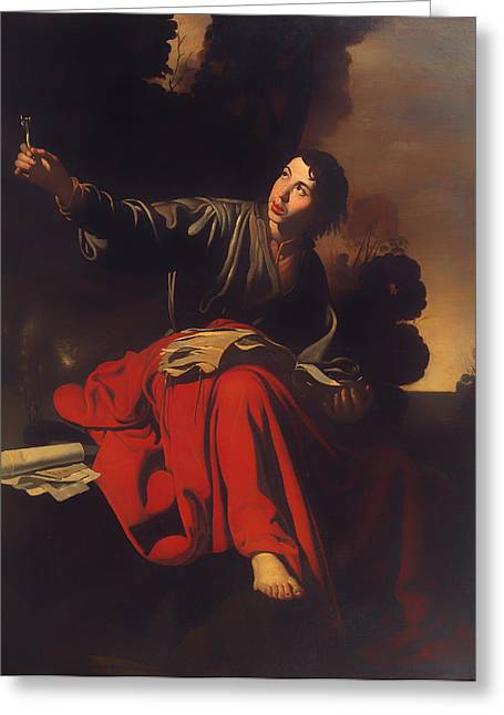 Religious Artwork Paintings Greeting Cards - Saint John the Evangelist at Patmos Greeting Card by Mountain Dreams
