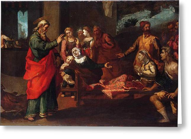 Saint John The Evangelist Reviving Drusiana Greeting Card by Andrea Boscoli