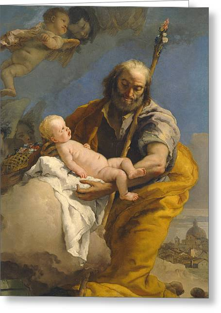 Giovanni Battista Tiepolo Greeting Cards - Saint Joseph and the Christ Child Greeting Card by Giovanni Battista Tiepolo