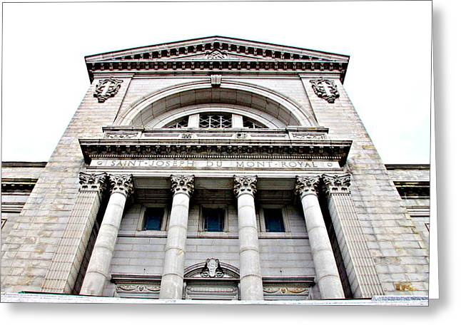 Saint Joseph du Mont Royal Facade Greeting Card by Valentino Visentini