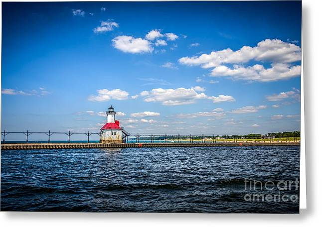 Saint Joseph Lighthouse and Pier Picture Greeting Card by Paul Velgos