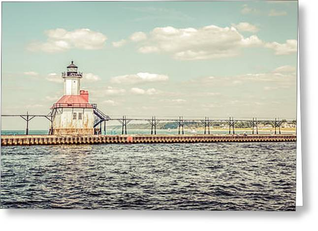 Lake House Greeting Cards - Saint Joseph Lighthouse Retro Panorama Photo Greeting Card by Paul Velgos