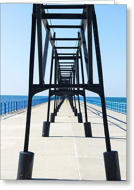 Green Day Greeting Cards - Saint Joseph Michigan Inner Lighthouse Catwalk Sunny Day Greeting Card by Sally Rockefeller