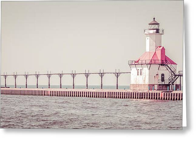Catwalk Greeting Cards - Saint Joseph Michigan Lighthouse Panorama Picture  Greeting Card by Paul Velgos