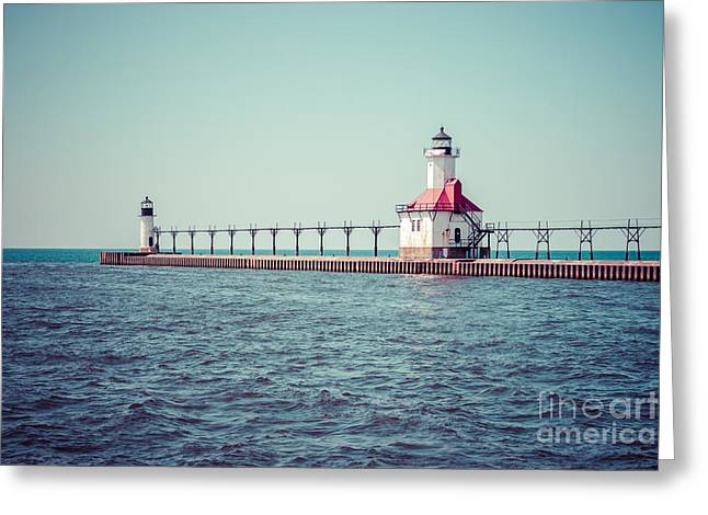 Best Sellers -  - Saint Joseph Greeting Cards - Saint Joseph Michigan Lighthouse Retro Picture  Greeting Card by Paul Velgos