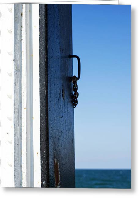 Green Day Greeting Cards - Saint Joseph Michigan Outer Lighthouse Door Sunny Day Greeting Card by Sally Rockefeller