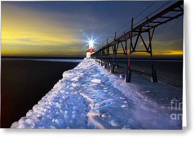 Snowy Night Night Greeting Cards - Saint Joseph Pier and Light Greeting Card by Twenty Two North Photography