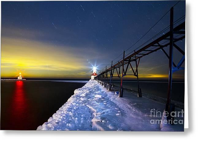 Snowy Night Night Greeting Cards - Saint Joseph Pier at Night Greeting Card by Twenty Two North Photography