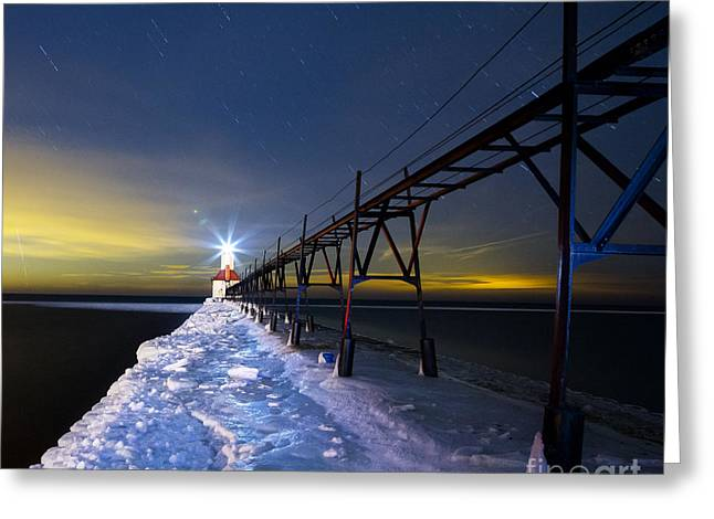 Snowy Night Night Greeting Cards - Saint Joseph Pier in Evening Greeting Card by Twenty Two North Photography