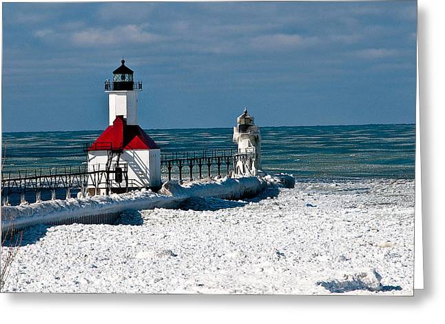 Saint Joseph Greeting Cards - Saint Joseph Pier Light Greeting Card by Ward McGinnis