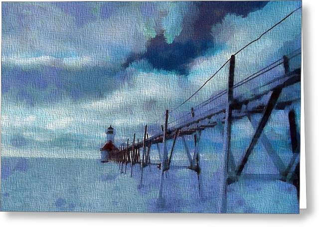 Saint Joseph Pier Lighthouse In Winter Greeting Card by Dan Sproul