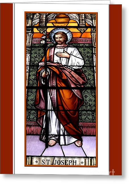 Best Sellers -  - Saint Joseph Greeting Cards - Saint Joseph  Stained Glass Window Greeting Card by Rose Santuci-Sofranko