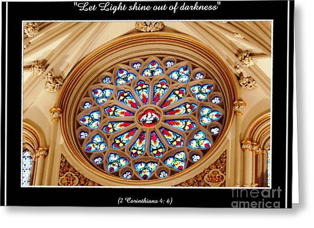 Saint Joseph Greeting Cards - Saint Josephs Cathedral Stained Glass Window Buffalo New York Greeting Card by Rose Santuci-Sofranko