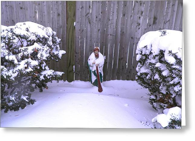 Saint Jude Greeting Cards - Saint Jude Barefoot in the Snow Greeting Card by Kate Gallagher