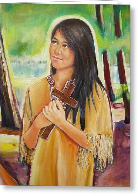 Sheila Diemert Paintings Greeting Cards - Saint Kateri Tekakwitha Version II Greeting Card by Sheila Diemert