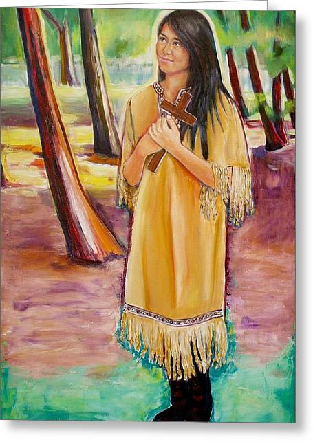 Religious ist Paintings Greeting Cards - Saint Kateri Tekakwitha Version One Greeting Card by Sheila Diemert