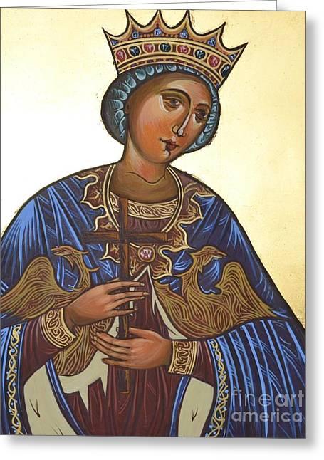 Egg Tempera Paintings Greeting Cards - Saint Kateryna Icon Greeting Card by Kateryna Kurylo