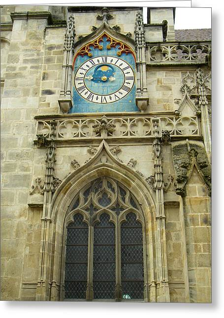 Europe Greeting Cards - Saint Lazare Cathedral Clock Autun Saone et Loire Burgundy France Greeting Card by Robert Ford