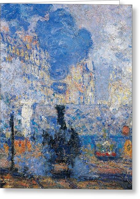 Contemporary Age Greeting Cards - Saint Lazare Station Greeting Card by Claude Monet
