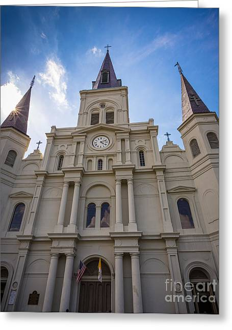 Vivid Colour Greeting Cards - Saint Louis Cathedral Entrance Greeting Card by Inge Johnsson