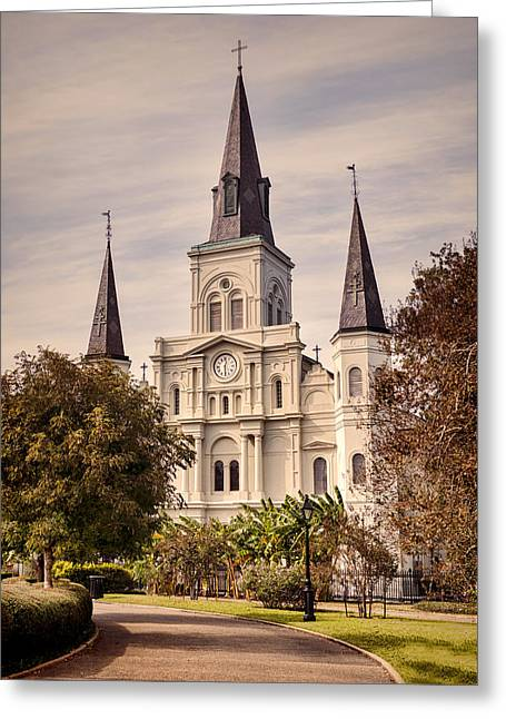 Warm Tones Greeting Cards - Saint Louis Cathedral Greeting Card by Heather Applegate