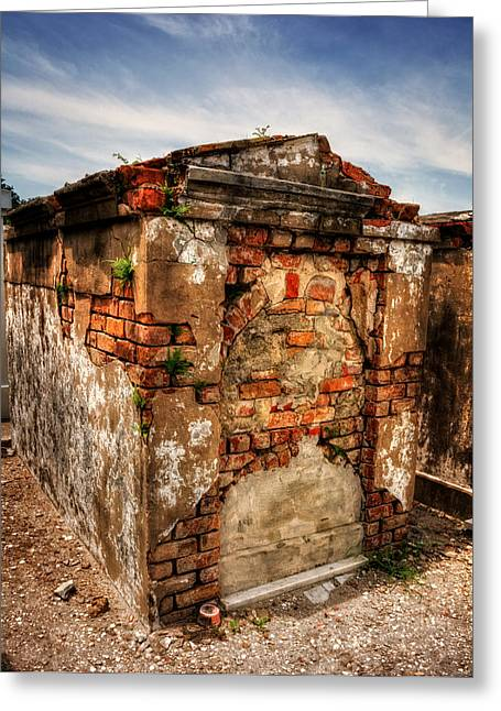 Chrystal Greeting Cards - Saint Louis Cemetery No. 1 Brick Grave Greeting Card by Chrystal Mimbs