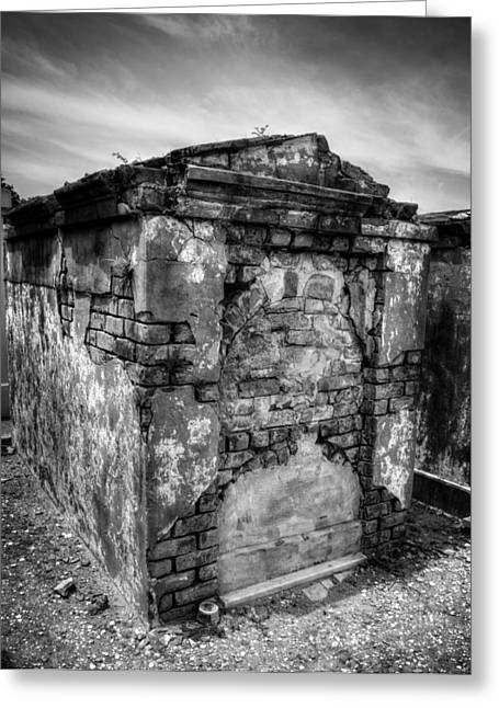 Chrystal Greeting Cards - Saint Louis Cemetery No. 1 Brick Grave in Black and White Greeting Card by Chrystal Mimbs
