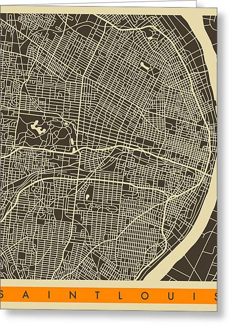 Sainted Greeting Cards - Saint Louis Map Greeting Card by Jazzberry Blue