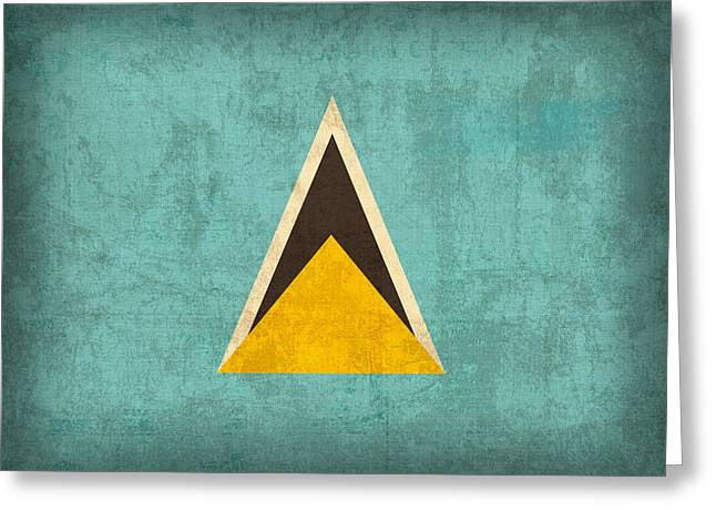 National Mixed Media Greeting Cards - Saint Lucia Flag Vintage Distressed Finish Greeting Card by Design Turnpike