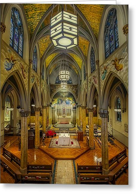 Theatre District Greeting Cards - Saint Malachy The Actors Chapel  Greeting Card by Susan Candelario