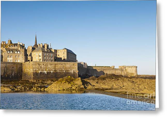Ramparts Greeting Cards - Saint Malo St-Malo Brittany France Ramparts Town Beach Greeting Card by Colin and Linda McKie